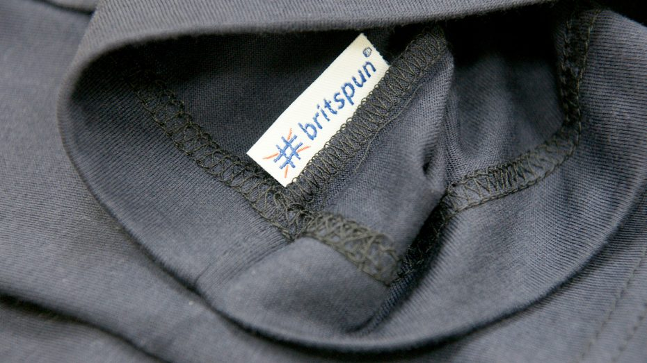 The new Britspun label on the seam of a garment made from English Fine Cottons yarn