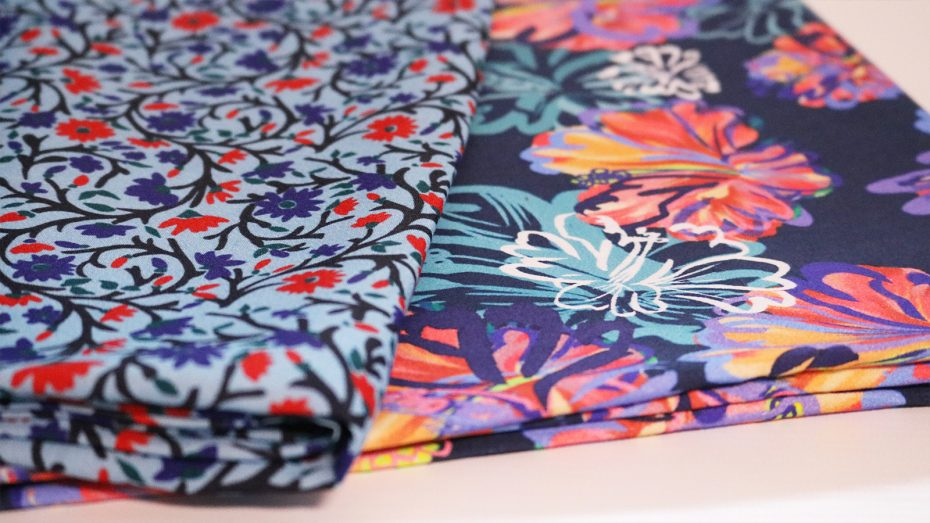 Floral prints, spun, woven adn printed in Britain