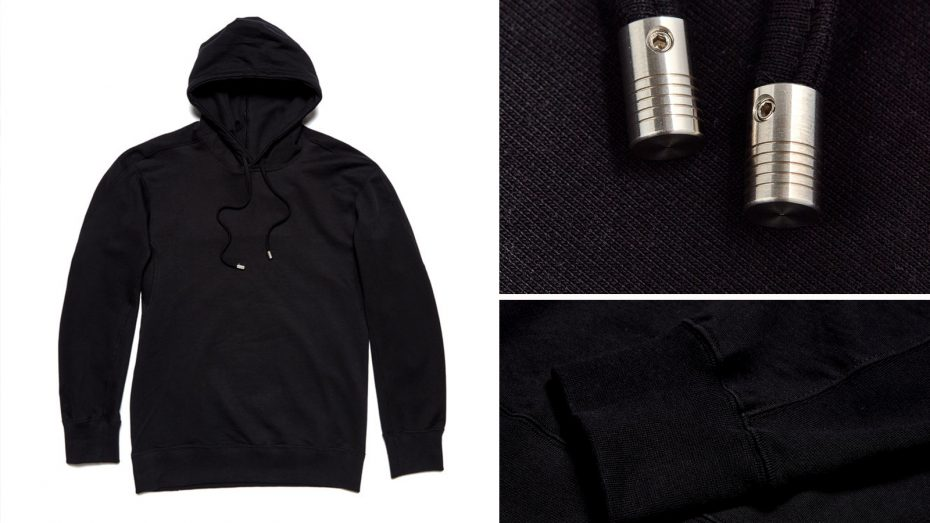 Forge denim's black hoodie made with English Fine Cottons yarns
